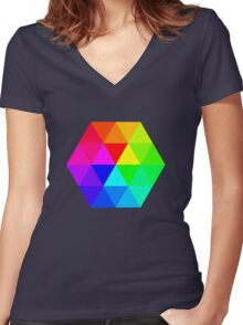 Colorful Triangles Women's Fitted V-Neck T-Shirt