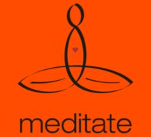 """Meditator with """"Meditate"""" in simple text. Kids Tee"""