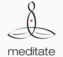 "Meditator with ""Meditate"" in simple text. Baby Tee"