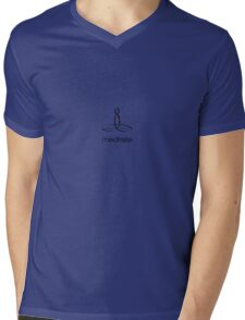 "Meditator with ""Meditate"" in simple text. Mens V-Neck T-Shirt"