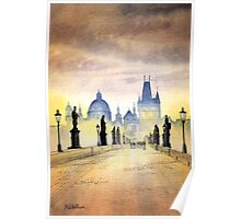 Charles Bridge Prague - Evening Strollers Poster