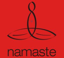 """Meditator with """"Namaste"""" in simple text. One Piece - Short Sleeve"""
