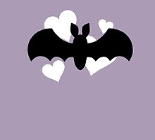 Bat and Hearts on Purple by DeliriumLina
