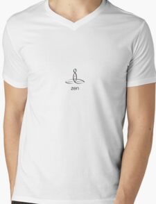 "Meditator with ""Zen"" in simple text. Mens V-Neck T-Shirt"