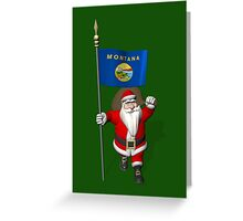 Santa Claus With Flag Of Montana Greeting Card