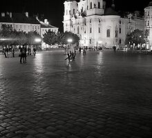 old town square, prague by linelight