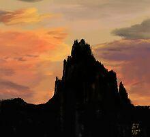 Shiprock Sunset  by EllieTaylorArt