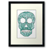 Green skull Framed Print