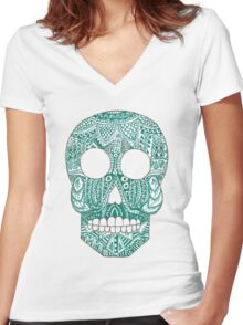 Green skull Women's Fitted V-Neck T-Shirt