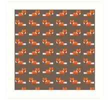 Pixel Foxes Pattern Art Print