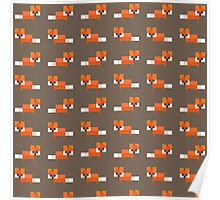 Pixel Foxes Pattern Poster
