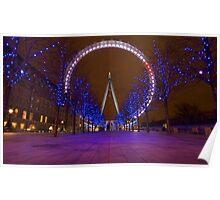 Nightime, London Eye Poster