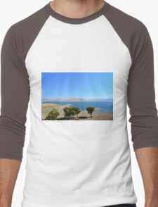 California water reservoir in blue sky landscape picture.  Men's Baseball ¾ T-Shirt