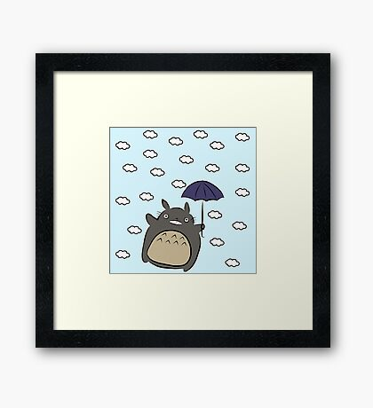 Totoro and his Umbrella Framed Print