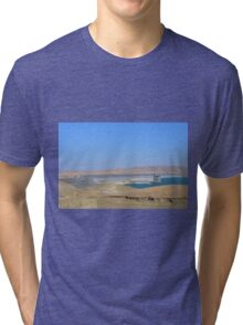 California water reservoir in blue sky and dry land landscape picture.  Tri-blend T-Shirt