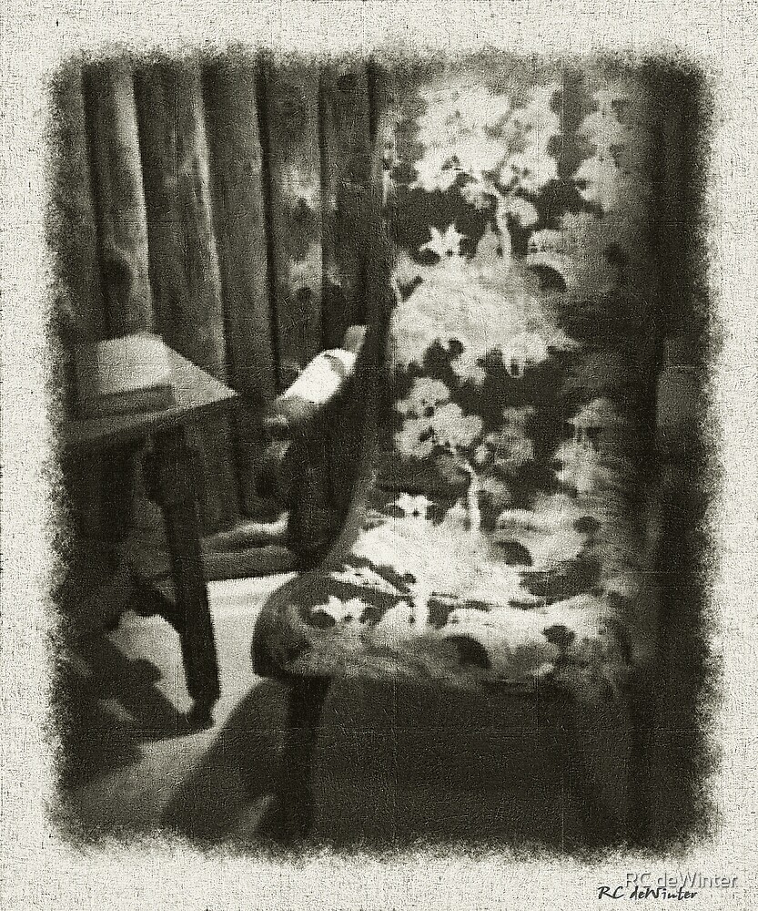 Reading Chair in the Cabin by RC deWinter
