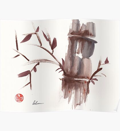 'Listen'  original ink wash sumi-e bamboo painting Poster
