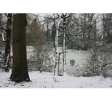 No Fishing, Frozen pond in London@Christmas Photographic Print