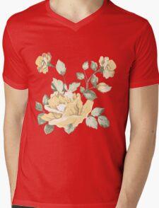 Vintage watercolor yellow flower Mens V-Neck T-Shirt