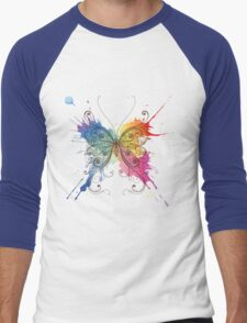 Colorful patterned butterfly Men's Baseball ¾ T-Shirt