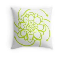 Wood Block Print Flower Number Two Throw Pillow