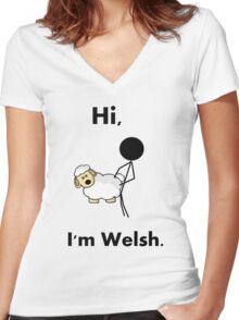 hi i'm welsh Women's Fitted V-Neck T-Shirt