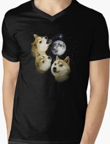 3 Doge Moon Mens V-Neck T-Shirt