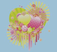 Neon patterned hearts Baby Tee