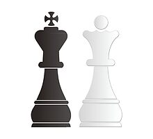 Black king white queen chess pieces by peculiardesign