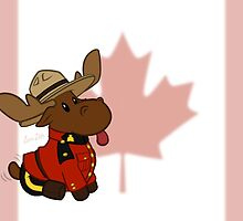 Mountie Moose (Flag Version) by A Girl of  Many Fandoms