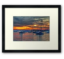 Sunset over Marina Framed Print