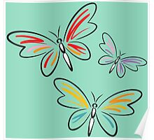 Painted colorful butterflies Poster