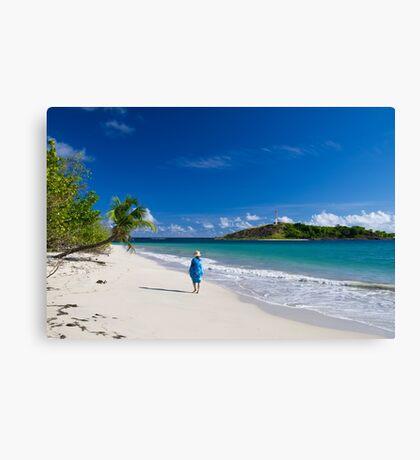 Woman in Blue on Sandy Beach Canvas Print