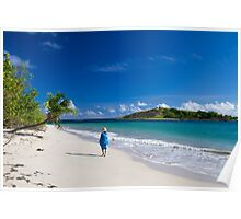 Woman in Blue on Sandy Beach Poster