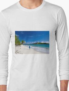 Woman in Blue on Sandy Beach Long Sleeve T-Shirt