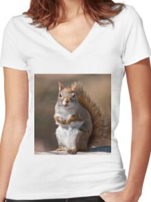 Red Squirrel Women's Fitted V-Neck T-Shirt