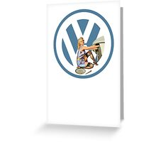Volkswagen Pin-Up Damsel in Distress (blue) Greeting Card