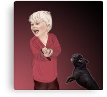 Playful frenchie. Canvas Print
