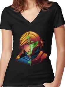 Samus Aran Metroid Zero Suit Face Split Women's Fitted V-Neck T-Shirt