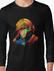 Samus Aran Metroid Zero Suit Face Split Long Sleeve T-Shirt