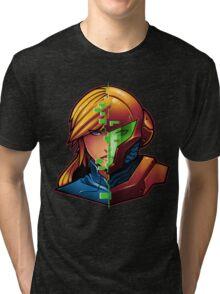 Samus Aran Metroid Zero Suit Face Split Tri-blend T-Shirt