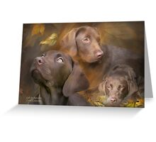Lab In Autumn Greeting Card