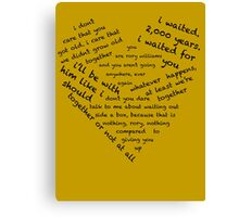 Quotes of the Heart - Amy/Rory (Black) Canvas Print