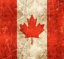 Vintage Aged and Scratched Canadian Flag by Jeff Bartels