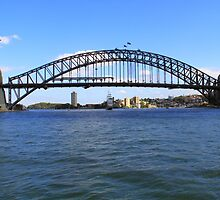 Sydney Harbour Bridge and the Stad Amsterdam by Yvonne Kirk