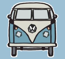 Blue White Campervan (slightly cubist) Kids Clothes