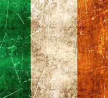 Vintage Aged and Scratched Irish Flag by Jeff Bartels