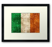 Vintage Aged and Scratched Irish Flag Framed Print