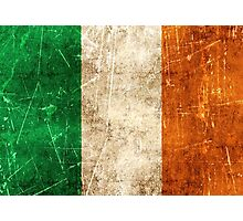 Vintage Aged and Scratched Irish Flag Photographic Print