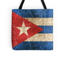 Vintage Aged and Scratched Cuban Flag Tote Bag